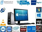 FULL DELL/HP DUAL CORE/AMD DESKTOP TOWER PC&LCD,WIN 7/10 16GB 3TB or 240GB SSD