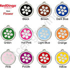 Red Dingo FLOWER Engraved Dog ID Pet Tag / Charm - Stainless Steel & Enamel