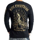 Limited Edition Mens Japanese Pattern Embroidery T-Shirt Long Sleeve Virgin Mary