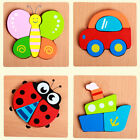 Kids Baby Colorful 3D Cartoon Animal Wooden Block Puzzle Game Educational Toy