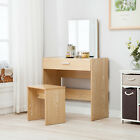 Vanity Dressing Desk Makeup Table and Stool Set Dresser with Mirror & Drawer
