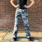 New Womens Green & White Camouflage Wide Loose Leg Combat Trousers Cargo Pants