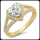 1.80Ct Heart VVS1 Synthetic Diamonds Engagement Ring Real Solid 14K Yellow GOLD