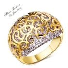 Copper+18K Yellow Gold Filled Diamond Studded Hollow-Out Charming Cocktail Ring