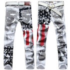 Men's Distressed Jeans Slim Long Pants Trousers American Flag Printed Jeans GOOD