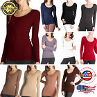 Nikibiki Seamless Scoop Neck Long Sleeve Soft Stretchy T-shirt shirt Top OneSize
