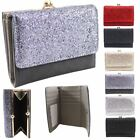 New Faux Leather Glitter Front Exterior Clasp Pocket Ladies Purse