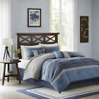Modern 7pc Shades of Blue & Grey Microsuede Comforter Set AND Decorative Pillows image