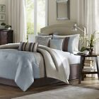 brown and blue comforters - Luxury 7pc Blue & Brown Striped Comforter Set AND Decorative Pillows
