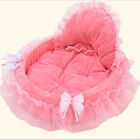 EP_ Cat Dog Puppy Princess Bowknot Lace Ruffle Soft Bed Doghouse Pet Warm Bed Fa