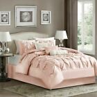 Luxury 7pc Blush Pink Pleated Comforter Set AND Decorativ...