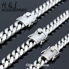 """18-40""""men Stainless Steel 7/10/12/14mm Silver Diamond Miami Cuban Chain Necklace"""