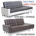 Italian Style Faux Leather Sofa Bed with Storage & Cup holder recliner sofabed