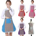 Womens / Ladies Cotton Colourful Stripe Aprons Red Blue HotPink Grey Purple
