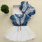 2016 Princess Girls Baby Kids Lace Belt Denim Tulle Stitching Dresses Age 1-6Y