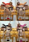"Внешний вид - 10"" Youth Mini Pony Western Leather Saddle with Pink or Black Suede Seat"