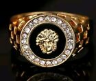 Medusa 14k Gold Plated lion Mens Signet Band Rings Sizes L-6 TO- Z+14