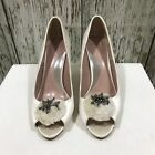 NEW COAST Cream Ivory Peep Toe Heels Occasion Bridal Sparkly Size UK 6 7 8 39313
