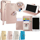 New Magnetic Card Slot Wallet Flip Gem butterfly PU Leather Case Cover For Phone
