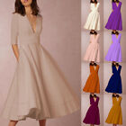 1Pc Sexy Lady Slim Deep V-neck Middle Sleeves Fold Dress Evening Party Prom Wear
