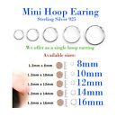 Mini Single Hoop Earring Sterling Silver 925 1.2mm x 8 / 10/ 12 / 14 / 16 Small