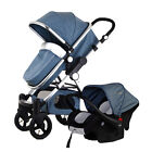 Baby Stroller 3 in 1 High View Pram Foldable Pushchair Bassinet Car Seat Hot New