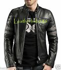 Jackets Men Handmade Black Lambskin Leather Biker Motorcycle Slim Fit Outwear 96