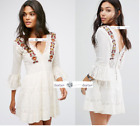 FREE PEOPLE Sz 4 Antiquity Embroidered Mini Dress IVORY New Tags