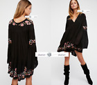 FREE PEOPLE  XS+S  Te Amo Embroidered Mini Dress Black New Tags