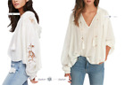 FREE PEOPLE  LARGE  Tropical Hooded Pullover Top Ivory New Tags