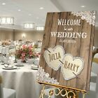 Personalised Wedding Welcome Sign  A1 / A2 / A3 Sizes -LACE & BURLAP/WOOD