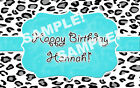 print edible images - Teal LEOPARD PRINT Edible Cake Image Frosting Sheet Topper PERSONALIZED!