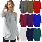 Ladies Womens Cut Cold Shoulder Top Batwing Tunic T Shirt Oversized Tops UK 8-26