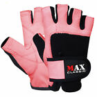 LEATHER Weight Lifting Body Building Gloves Gym fitness training Ladies Pink