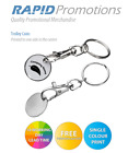 50/100/250/500 PRINTED PERSONALISED PROMOTIONAL TROLLEY COIN KEYRING PROMO