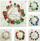 "Assorted Button S/Plated Bracelet 7 1/2""- 17 designs-photos in main listing-SALE"