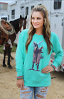 Crazy Train Rough Ryder Turquoise Pullover