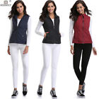 Womens Fashion Casual Sleeveless Woven Vest Front Zipper Quilted Coat w 2Pockets