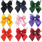 Womens Girls Student Adjustable Bow Tie Party Banquet Bank Solid Satin Necktie
