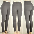 Plus Size Seamless High Waisted Fleece Lined Stretchy Winter Leggings Gray