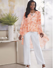 Внешний вид - Ashro Orange White Formal Party Cruise 3 Pc Dress Duster Pant Suit 6 12 16W 18W