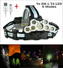 100000LM 9xT6 LED Headlamp USB Rechargeable Head light Torch Lamp Super Bright h