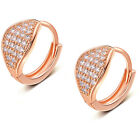 925 Sterling Silver Plated Crystal Snap Closure Hoop Dangle Earrings For Women