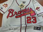 NEW Atlanta Braves Throwback #23 David Justice Dual patch Stitched Jersey Gray