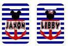 MICKEY OR MINNIE BLUE STRIPE BAGTAG Personalized Luggage Bag Tag 2 side printed