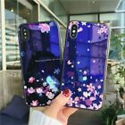 Fashion Blu-ray Flower Back Glass Shockproof Case Cover for iPhone X 6S 7 8 Plus