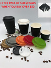 COFFEE PARTY PAPER CUPS Ripple Wall BLACK 8oz Disposable LIDS Cold Hot Drinks
