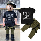 Newborn Infant Baby Mamas Boy Tops T-shirt Long Pants Outfits Clothes Playsuit
