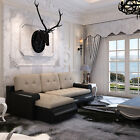 Corner Sofa Bed Storage Faux Leather & Fabric Sofabed Settee Living Room Lounge
