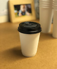 DOUBLE WALL PAPER CUPS WHITE 100x 8oz/12oz/16oz Disposable Coffee Tea & SIP LIDS